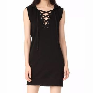 PAM & GELA Black Hooded Lace Up  Dress XS